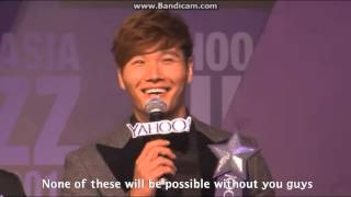 [ENG] 131201 Kim Jong Kook receiving Most Charismatic Korean Host Award