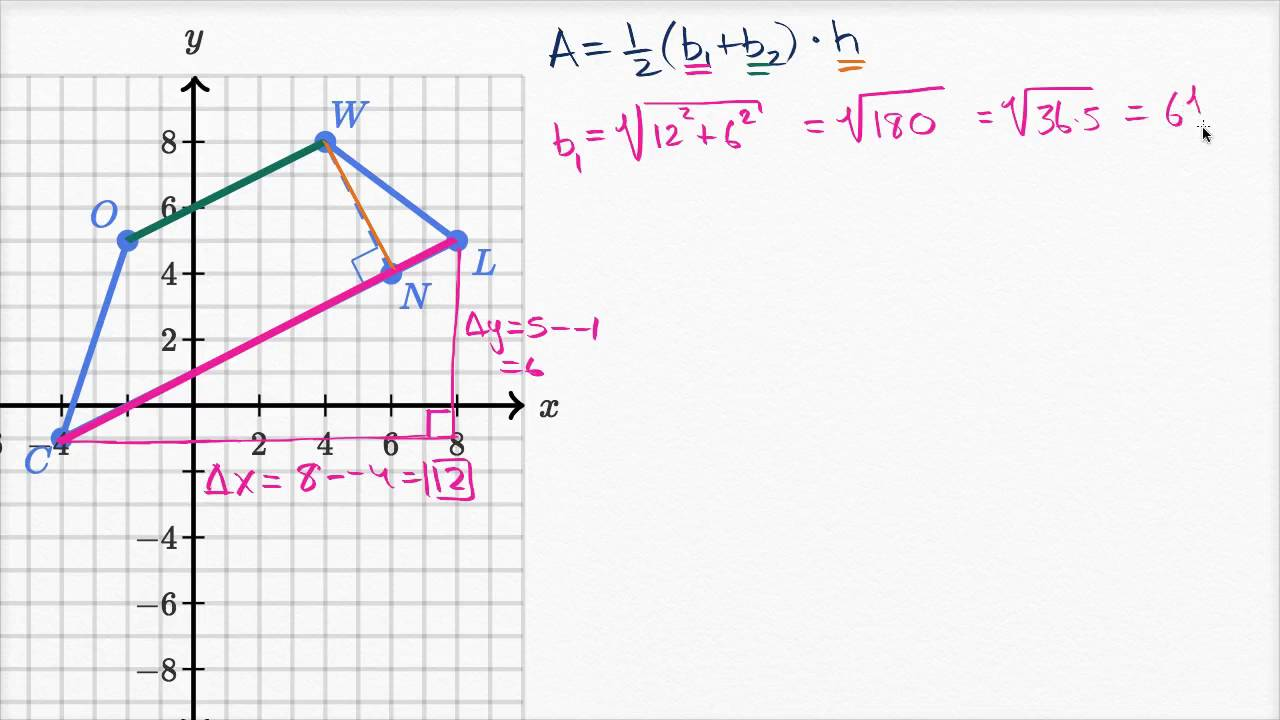 Area of trapezoid on the coordinate plane (video)   Khan Academy [ 720 x 1280 Pixel ]