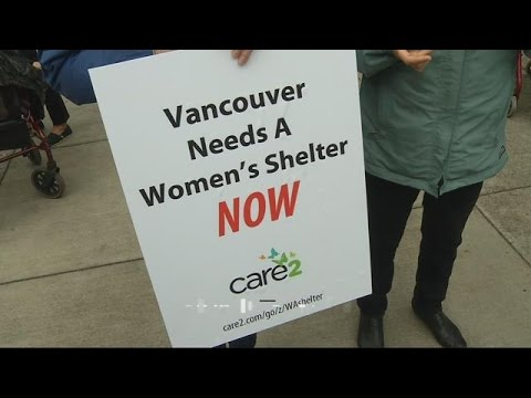 Protesters demand homeless women's shelter in Vancouver