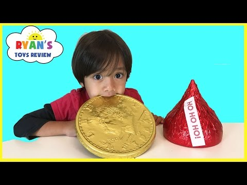 Thumbnail: GIANT CHOCOLATE CANDY taste test! Hershey's Kiss, Gold Coins, Peanut Butter Cups Candy Review