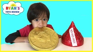 GIANT CHOCOLATE CANDY taste test! Hershey's Kiss, Gold Coins, Peanut Butter Cups Candy Review