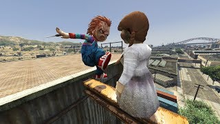 GTA 5 - Ragdolls And Crazy Falls N89. (Chucky VS Annabelle)