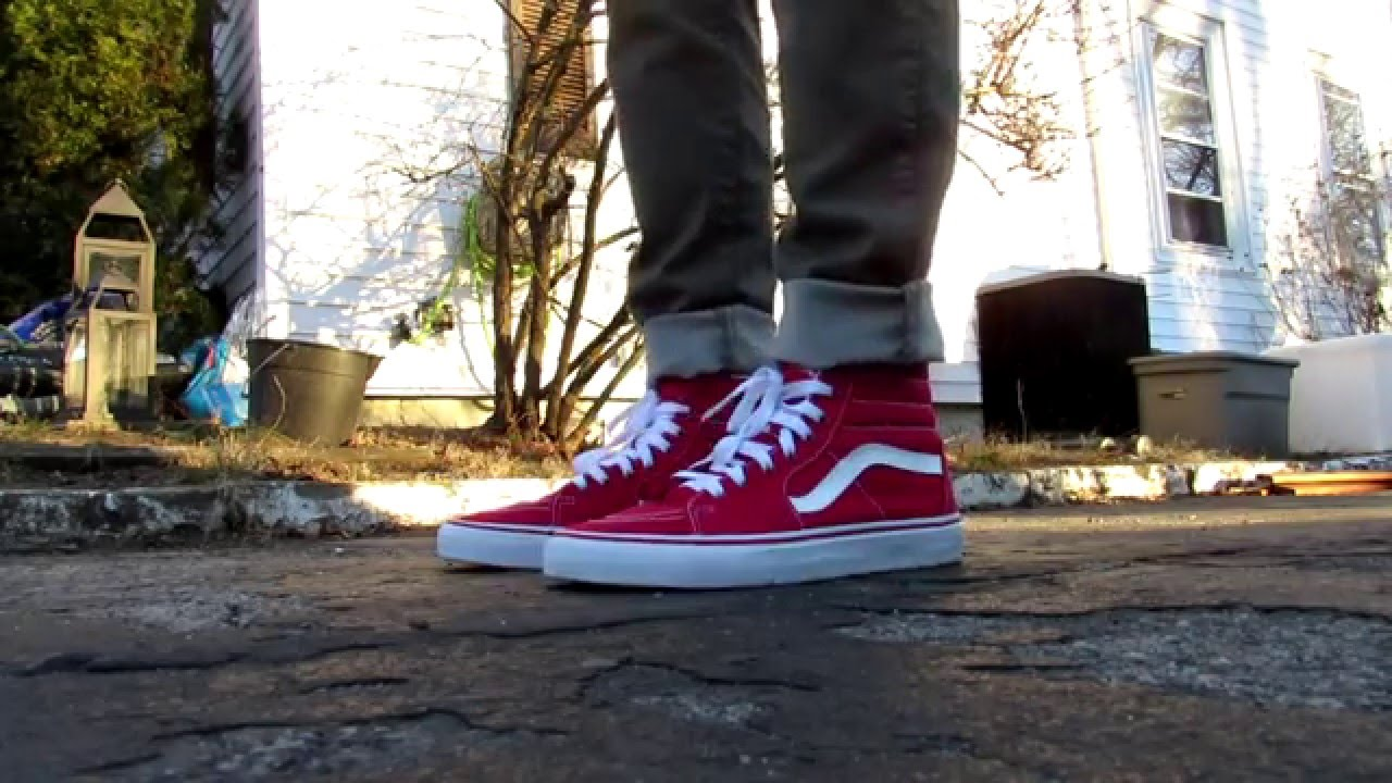 red and white vans sk8 hi