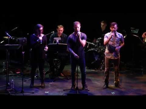Emma GannonSalomon, Eric Meyers, and Seth Eliser sing