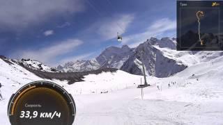 """Спуск на лыжах с Эльбруса от """"Мира"""" до """"Кругозора"""""""