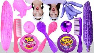 Pink Food VS Purple Food Mukba…