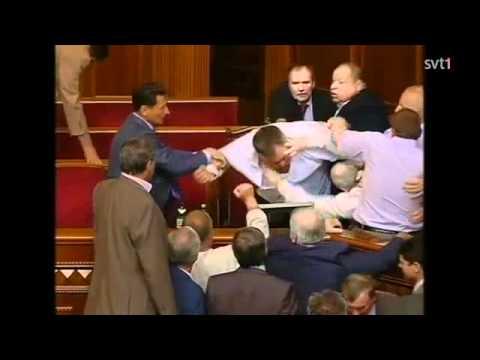 Slagsmal utbrot i ukrainas parlament