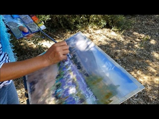 Painting Lavender Farms in Watercolor En Plein Air
