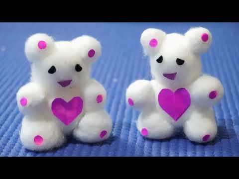 Download How to make Teddy bears using cotton / Cotton Teddy bear Table Decor