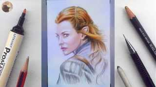 Evangeline Lilly (Tauriel, the Hobbit) miniature portrait timelapse video