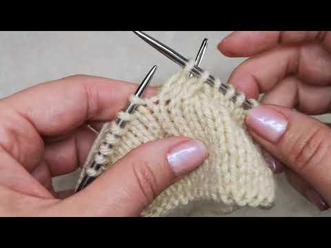 №43 Как вязать две лицевые петли перекрещенные ВПРАВО (нить за работой) Для вязания жгутов, косы