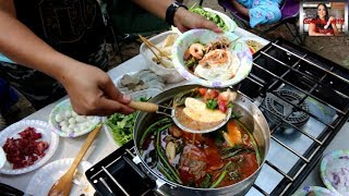 Cambodian food-យ៉ៅហន The Best Hot Pot Soup/Yao Hon At Camping!!!