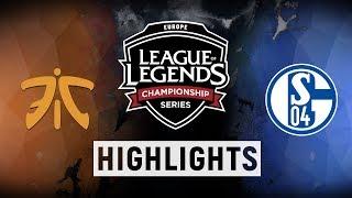 FNC vs. S04 - EU LCS Week 9 Day 2 Match Highlights (Spring 2018)