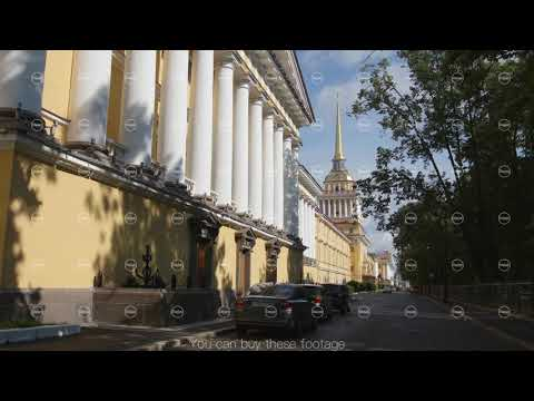 ST PETERSBURG, RUSSIA: Admiralty building and silent street in the summer