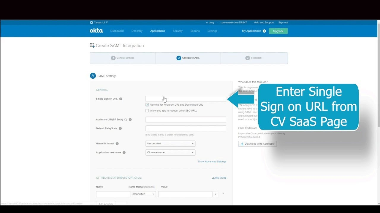 Commvault Backup as-a-Service for AWS: How to Configure an Identity Server  (Okta)