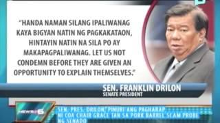 SP Drilon, pinuri ang pagharap ni COA Chair Grace Tan sa PDAF scam probe ng senado