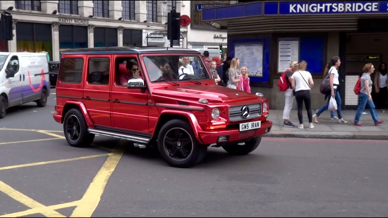 insanely loud red chrome mercedes g-wagon - revs & acceleration in