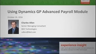 Using Dynamics GP Advanced Payroll Module