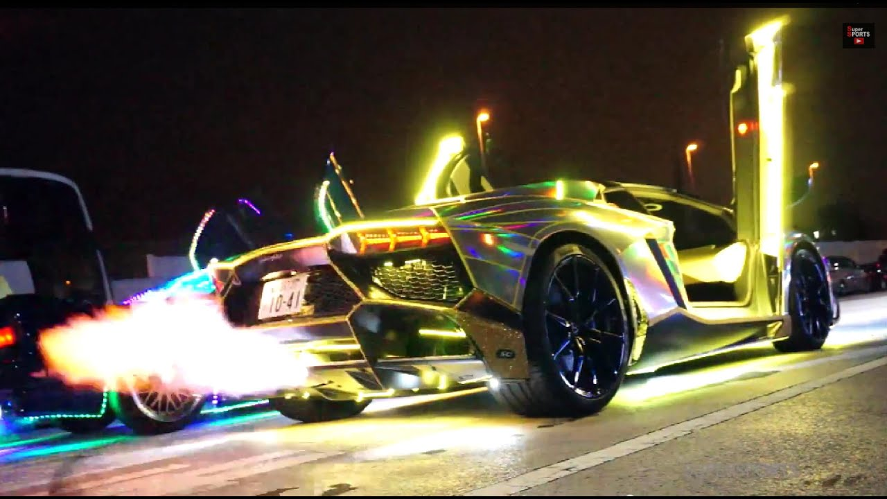 Lamborghini Aventador With Neon Lights Revs In Japan Video