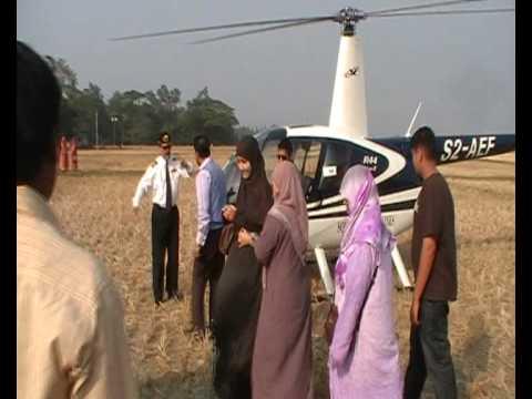 Helicopter Landing in Bangladesh, Feni, Sonagazi village