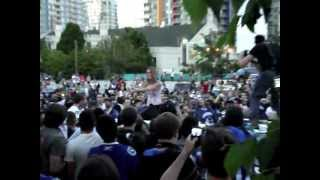 Girl trying to save Police Car in Vancouver Riot 2011