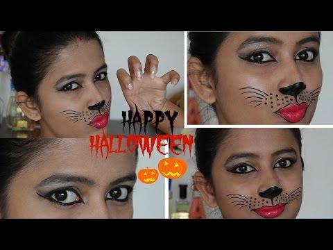 EASY Affordable Halloween Kitty Cat Makeup Tutorial Last minute makeup+BLOOPERS SensationalSupriya