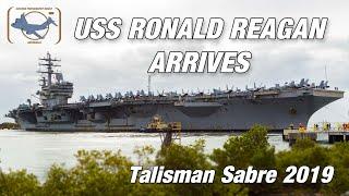 USS Ronald Reagan CVN-76 arrives into Brisbane, Australia.