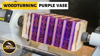 Woodturning a Purple Vase