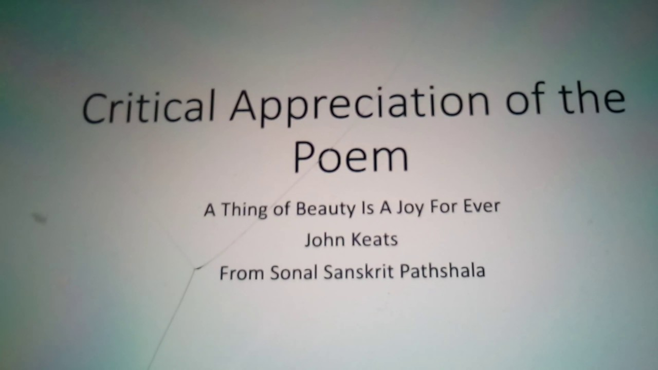 Ssc New Syllabus Critical Appreciation Of A Thing Of Beauty Is