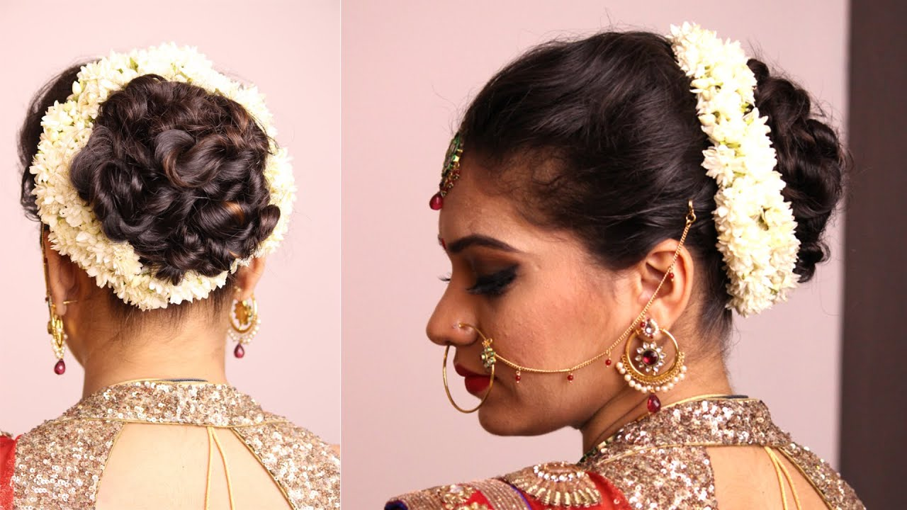 hairstyle - twisted bun with gajara - bridal hairstyle