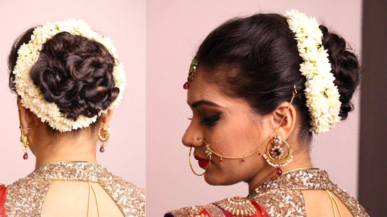 Hairstyle Twisted Bun With Gajara Bridal Hairstyle