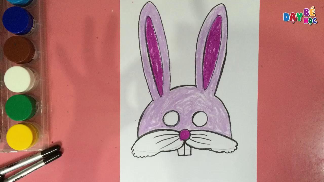 Làm đồ chơi trung thu | Cách vẽ mặt nạ con vật con thỏ cho bé 2 | Dạy bé học