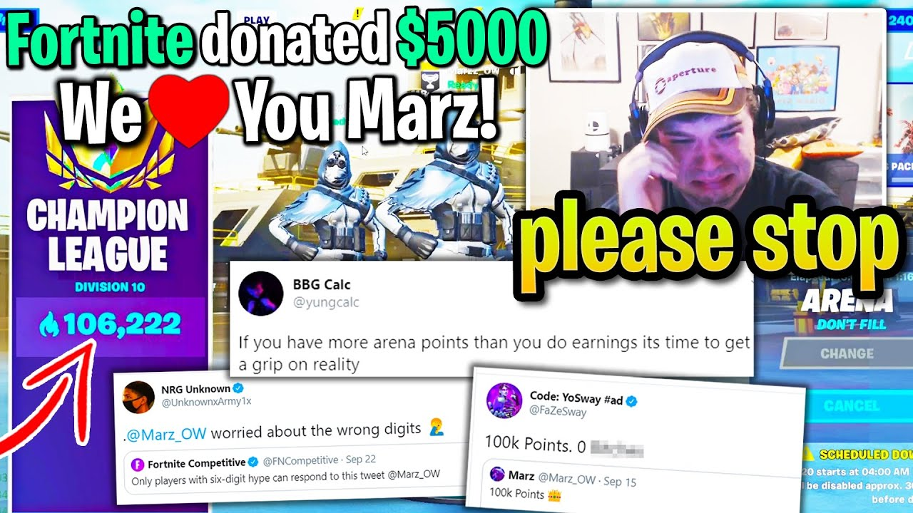 100,000 Arena Point Player CRIES on Stream after NONSTOP Hate from Pros leads to THOUSANDS Donated!
