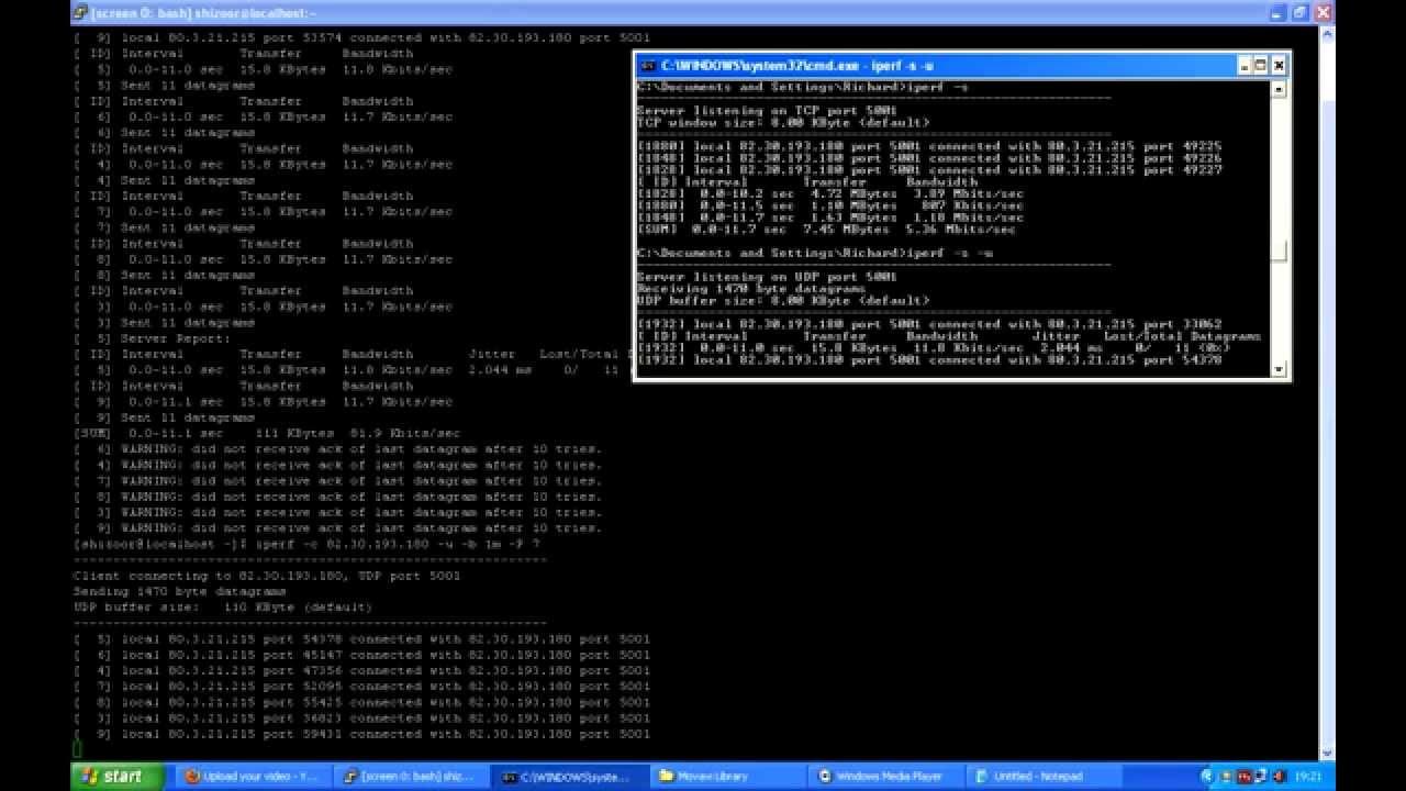 tweaking iperf settings to fill bandwidth on the udp test 1