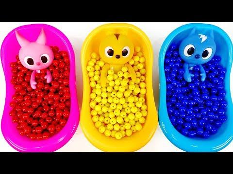 Pelajari Warna Dengan Bathtub Lendir, Telur Kejutan, Manik-manik Berwarna-warni #LuLuPopTV