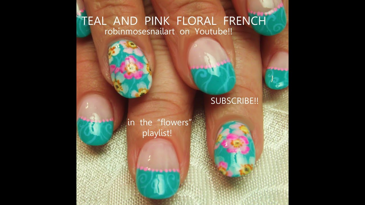 Turquoise Blue Nails With Watercolor Flowers! Pretty Nail