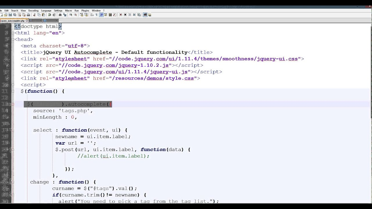 jQuery autocomplete in PHP and force to pickup
