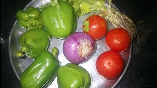 Cooking Capsicum Tomato Curry In Indian Recipe Style Prepared by my mom - Tasty Village Food Factory