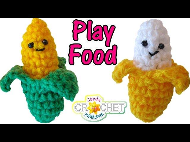 Crochet Banana & Sweet Corn Pattern - Play Food, Key Chains!
