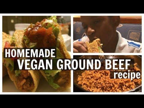 Homemade VEGAN GROUND BEEF recipe for tacos, burgers, etc!  DIY Vegan Taco Meat