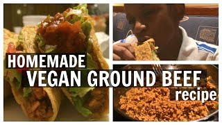 Homemade VEGAN GROUND BEEF recipe for tacos, burgers, etc!| DIY Vegan Taco Meat