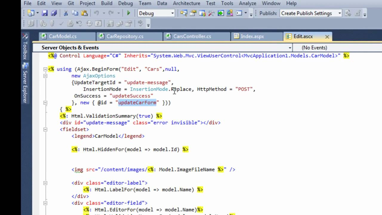 ASP MVC3 – Editing records with jQueryUI Dialogs and