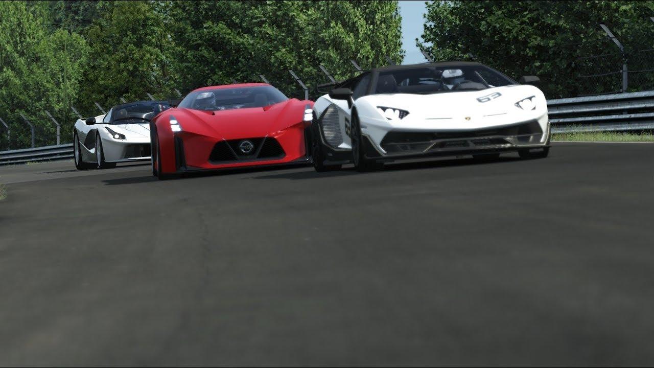 Nissan Concept 2020 Vision GT vs Lamborghini Veneno vs Ferrari LaFerrari at Old Spa