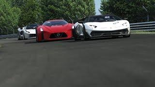 Nissan Concept 2020 Vision GT vs Lamborghini SVJ vs Ferrari LaFerrari vs Centenario at Nordschleife