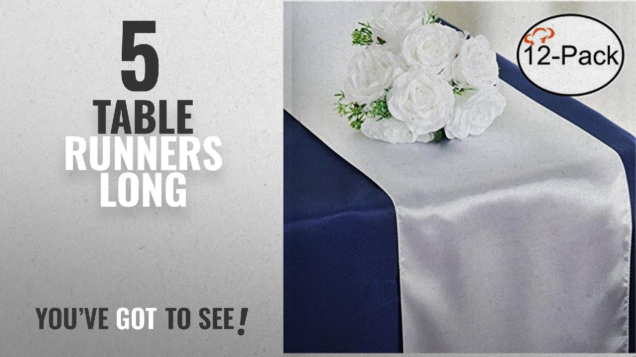 Attrayant Best Table Runners Long [2018]: Tiger Chef 12 Pack White 12 X 108 Inches  Long Satin Table Runner