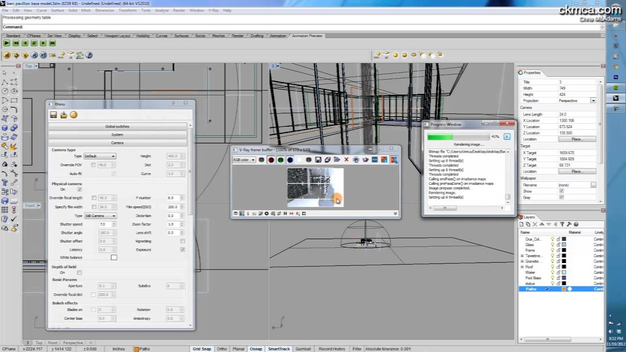 {Vray for Rhino - Animations} Setting up and Rendering