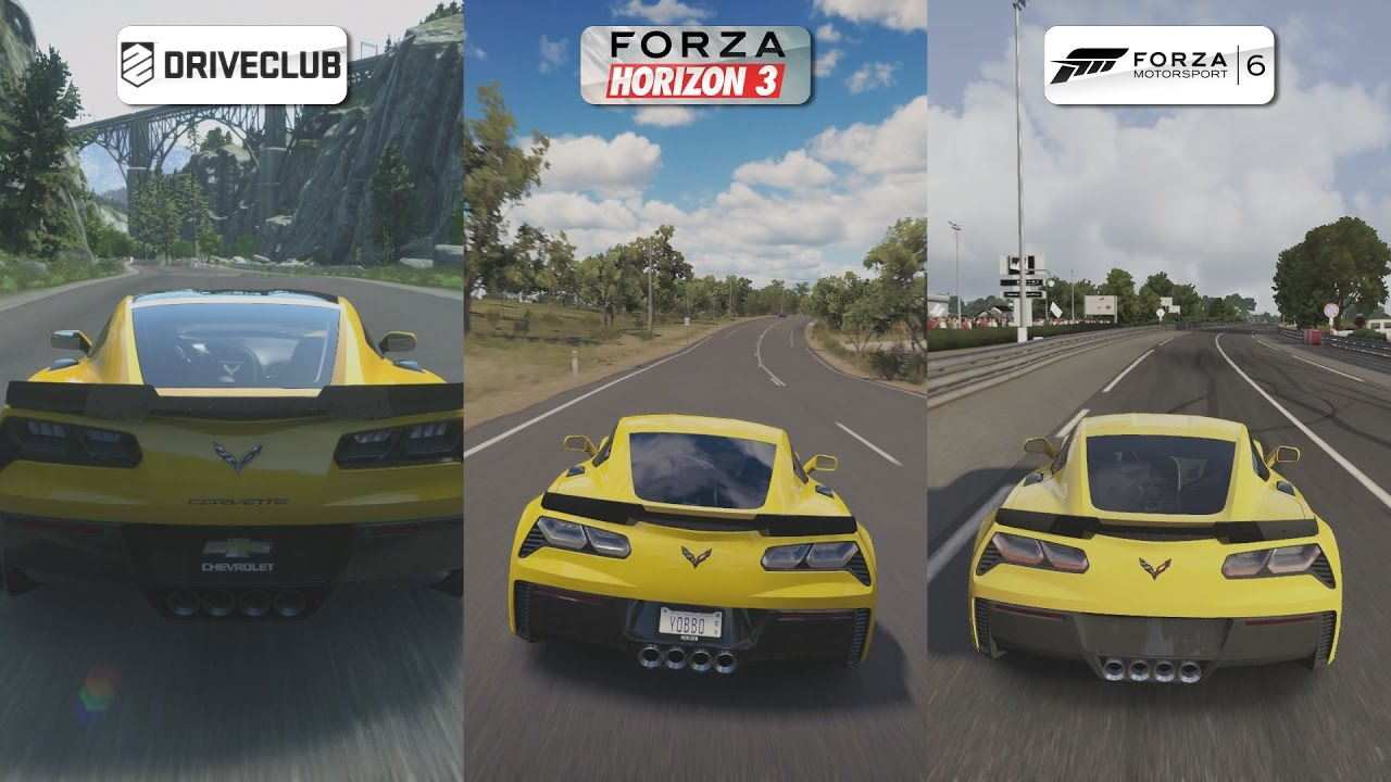 driveclub vs forza horizon 3 vs forza 6 2015 chevrolet corvette z06 sound comparison youtube. Black Bedroom Furniture Sets. Home Design Ideas