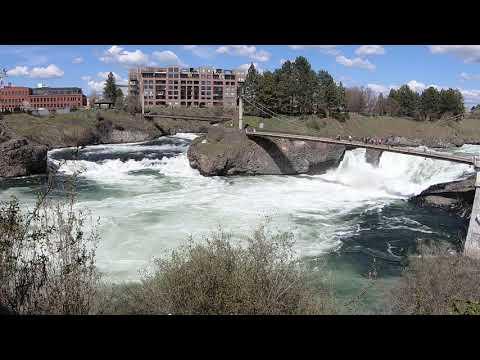 Spokane Falls Waterfall and 11 great view points at the Heart of Downtown Spokane, Washington