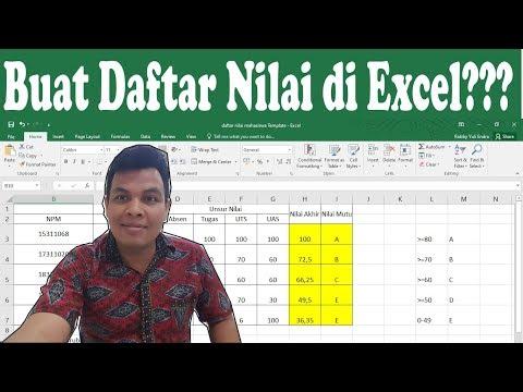 Salah satu cara membuat daftar nilai dengan MS EXEL..