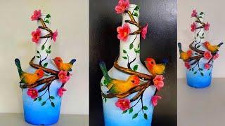 Glass Bottle Craft Ideas/ Easy Bottle Art